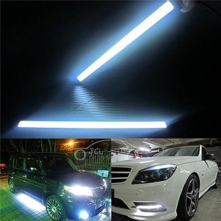 Green BININBOX 6W Super Bright COB Car LED Lights 12V for DRL Fog Driving Daylight Daytime Running Lamp Waterproof Slim Pack of 2