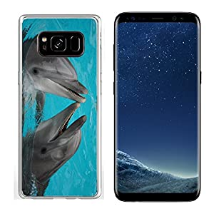 MSD Samsung Galaxy S8 Clear case Soft TPU Rubber Silicone Bumper Snap Cases IMAGE ID: 624765 funny bottle nosed dolphins dancing in the water