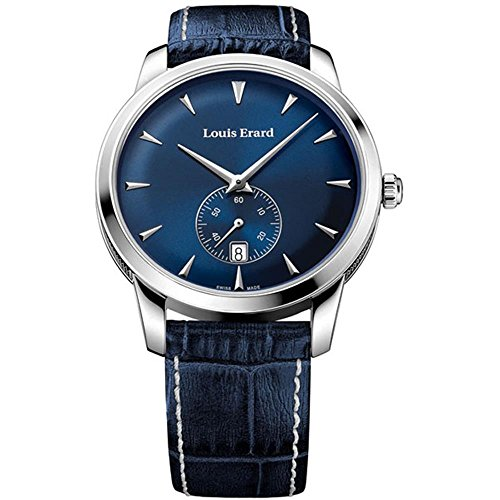 Louis Erard Men's Blue Leather Band Steel Case Anti Reflective Sapphire Quartz Watch 16930AA05.BEP102