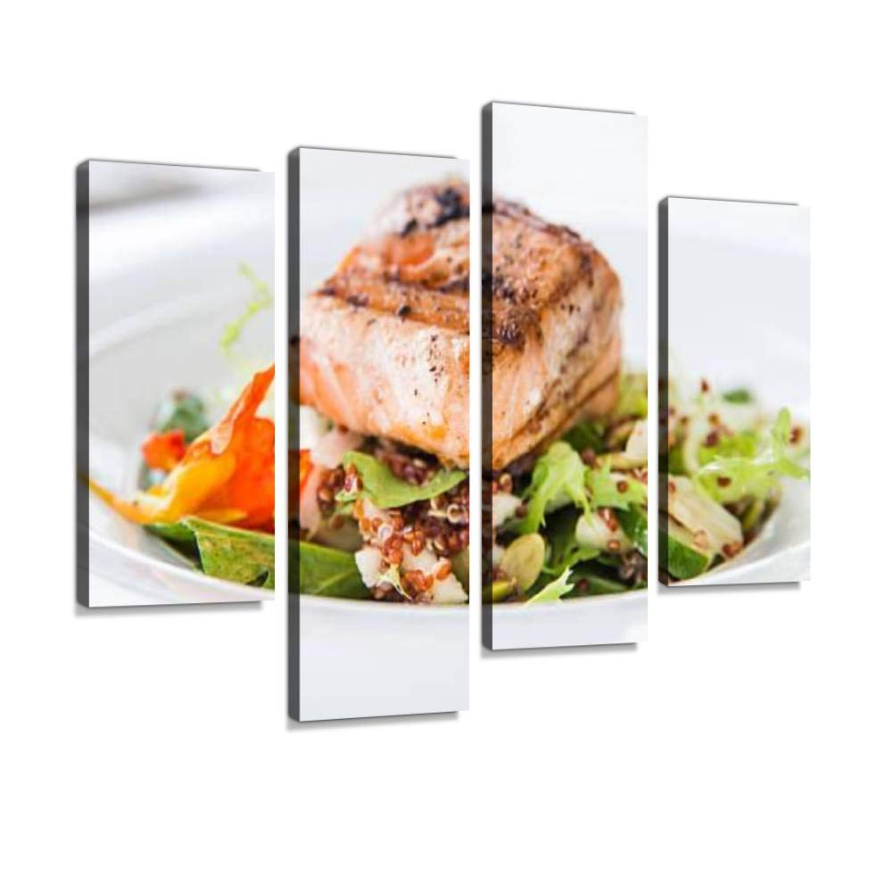 Canvas Wall Art Painting Pictures Grilled Salmon with Vegetables Modern Artwork Framed Posters for Living Room Ready to Hang Home Decor 4PANEL by D1eep