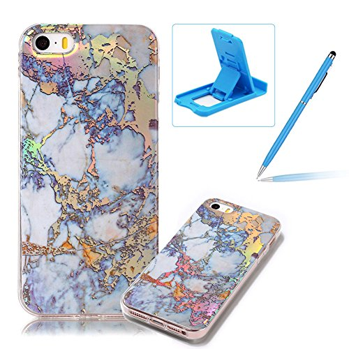 Price comparison product image Rubber Case for iPhone SE, Soft TPU Cover for iPhone 5S, Herzzer Premium Stylish Marble Pattern Scratch Resistant Slim Fit Silicone Back Cover - Blue Gold