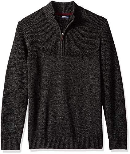 IZOD Men's Saltwater Long Sleeve 1/4 Zip Mock Neck Solid Sweater, New Carbon X-Large
