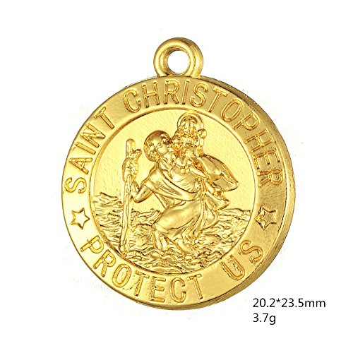 Saint Anthony Costume (10PC Gold & Silver Plated St Saint Christopher Protect Us Medal Necklace Pendant Catholic Protection Charm Wholesale)