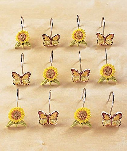 Set of 12 Sunflower and Butterfly Shower Hooks