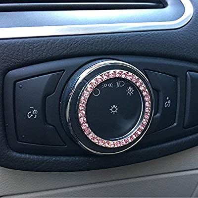 Bling Car Decor Pink Crystal Rhinestone Car Bling Ring Emblem Sticker, Bling Car Accessories, Push to Start Button, Key Ignition & Knob Bling Ring, Car Glam Interior Accessory, Women Gift (Pink): Automotive