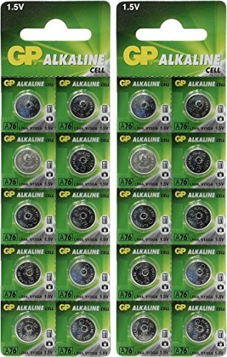 Cell Alkaline Button Battery - GP A76 LR44 AG13 Alkaline Cell 1.5V Alkaline Button Cell Battery x (20) Batteries