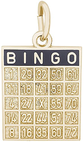 Rembrandt Bingo Card Charm w/ Black Enamel - Metal - 14K Yellow (14k Gold Bingo Card Charm)