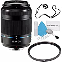 Samsung 50-200mm f/4.0-5.6 ED OIS Lens (Black) EX-T50200CSBUS + UV Filter + Lens Cap Keeper + Deluxe Cleaning Kit 6AVE Bundle