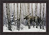 Home Cabin Décor A Walk In The Woods by Stephen Lyman 28x40 Moose Winter Snow Trees Framed Art Print Picture