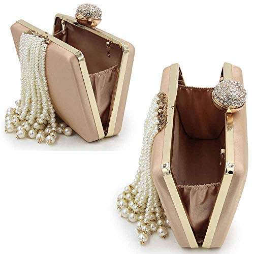 Embroidery Tassel Bag Clutch High Chain End Women's Pearl Bead Bag Pearl 6 Party Evening Diamond FFLLAS Luxury vXHqEw
