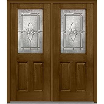 National Door Company Z012792R Fiberglass Mahogany Burnished Walnut Right  Hand Prehung In Swing Double Entry