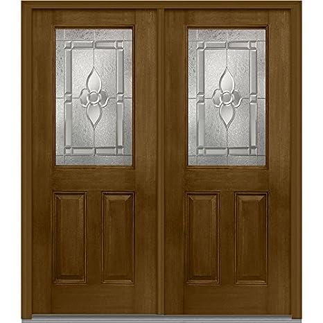 Compañía Nacional de puerta z012792r Fibra de vidrio exterior de madera de caoba, bruñido, mano derecha in-swing de nogal, prehung puerta, Master Nouveau, 1/2 Lite 2-Panel, 64 cm: Amazon.es: Amazon.es