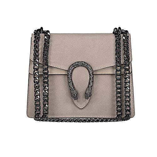 RACHEL Italian cross body chain bag, designer evening purse, flap bag, suede genuine leather (grey taupe mini) ()