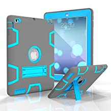 iPad 4 Case, iPad 3 Case,iPad 2 Case, MAKEIT Hybrid Three Layer Armor Shockproof Kickstand Case for iPad 2/iPad 3/iPad 4 (C4-Gray/Blue)