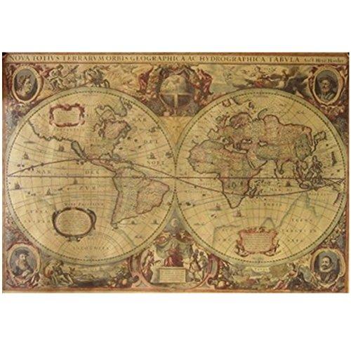 Wrisky 71x50cm Vintage Globe Old World Map Matte Brown Paper Poster Home Wall Decor (Decor Catalogs Cottage)