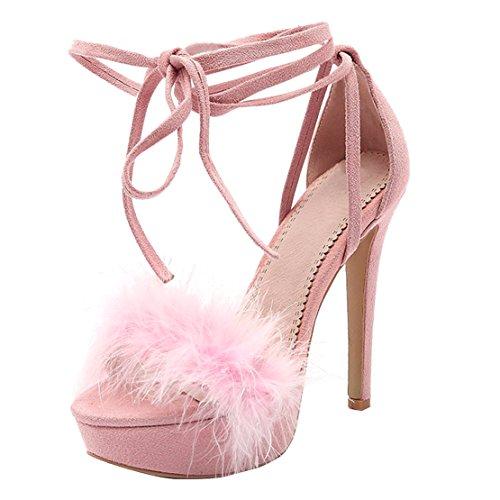 YE Damen Ankle Strap Peep Toe Sandalen Stiletto High Heels Plateau mit Schnürung und Fell Elegant Schuhe Rosa