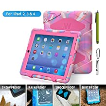 Ipad Case, Ipad 2/3/4 Case, Aceguarder® Design New Snowproof Rainproof Dirtproof Shockproof Cover Case with Stand Super Protection for Ipad 2/3/4 (Pink Camo/Rose)