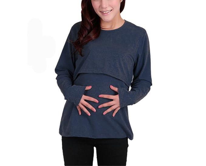 9804a5ce9bc53 Bold N Elegant Women's Cotton Full Sleeve Breastfeeding Pregnancy Maternity  Nursing Top (Navy Blue,