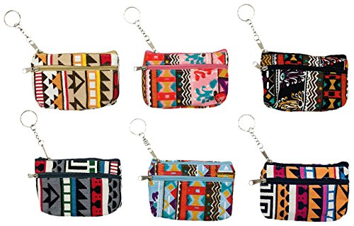 Womens Fashion Coin Purse, 6 Pack, Double Zippered Key Chain Cute Patterned, Money Card Bag Bulk Pack (6 Pack, Aztec)