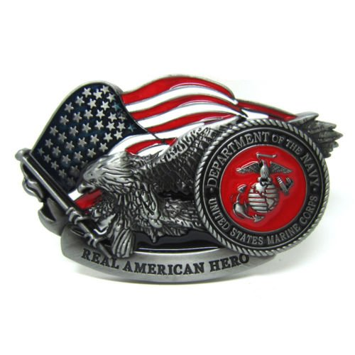 Belt Buckle American Eagle USA Flag Navy Department Shield Mens American Hero