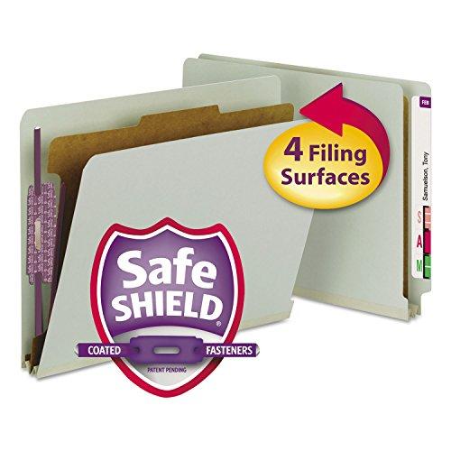 Smead 26800 Pressboard End Tab Classification Folder Letter 4-Section Gray/Green 10/Box