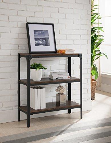 Kings Brand Furniture 3 Tier Antique Finish Bookcase, Walnut/Black