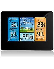 ALLOMN Estación meteorológica inalámbrica con Sensor inalámbrico, termómetro e higrómetro/barómetro, Reloj Despertador con luz LED de 3 Niveles y retroiluminación a Color