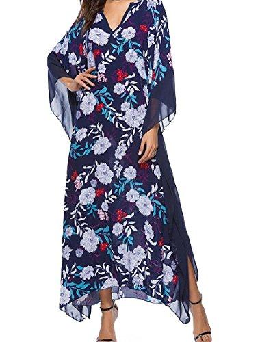 Dimensioni Stampa Della Pipistrello Coolred 2 Più Larghi Vestito Clubwear Cocktail V Collo donne RwxEqXHIx