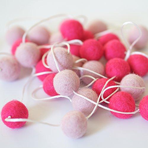 - DecoMod 100% Wool Felt Ball Garlands 9FT Long 35 Balls - Pinks