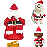 Dog Cat Pet Christmas Costume Santa Claus Suit Clothes with a Cap and 2 Hair Clips for Cats Dogs Pets