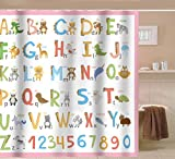 Large Shower Curtains Sunlit Alphabet Fabric Shower Curtain for Kids ABC Learning Tool for Girls and Babies Large A to Z Poster Tapestry Waterproof Mildew Resistant Polyester Bathroom Curtains- Pink