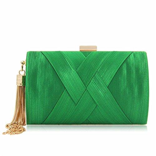 Women Clutches Bags Suede Purses Ladies Tassels Evening Bag Female Wedding Clutch Green
