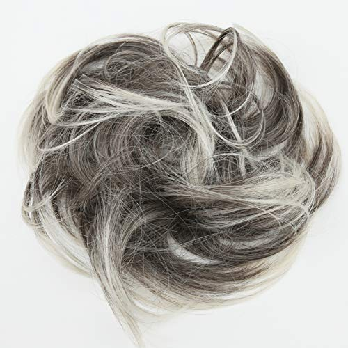 - PRETTYSHOP Hairpiece Scrunchie Bun Up Do | Ponytail Extensions | Wavy Curly or Messy (Grey Blonde Mix 9T613)