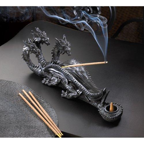 Triple Head Mythical Dragon Figure Incense Stick Burner - incensecentral.us
