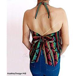Cami Top Halter Blusa Mexicana Amarre Espalda Forrada Tallas Extras Plus Personalizada Artesanal Tradicional Chic