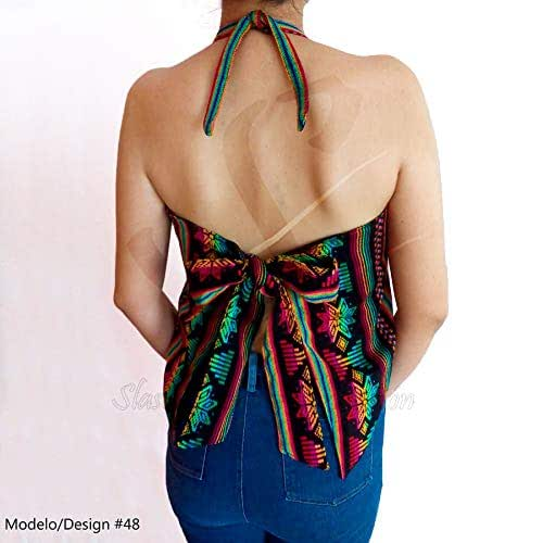 Amazon.com: Mexican Rug Cambaya Halterneck Tie Back Blouse