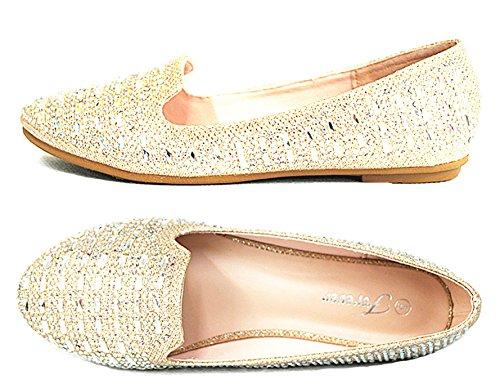 Sf Karra Flat Shoes Link Ballet Classic 29 On Slip Champagne Glitter Women's rprx5qw6