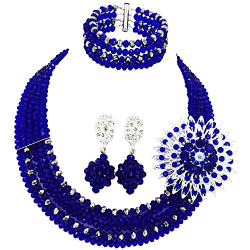 aczuv 5 Rows Nigerian Beaded Jewelry Set Women African Wedding Beads Crystal Necklace and Earrings (Royal Blue and Silver)