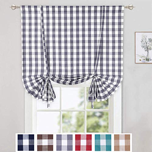 CAROMIO Tie Up Curtains for Windows, Buffalo Check Plaid Gingham Pattern Rod Pocket Adjustable Tie Up Shades for Kitchen Windows Cafe Curtains, 42x63 Inches, Grey