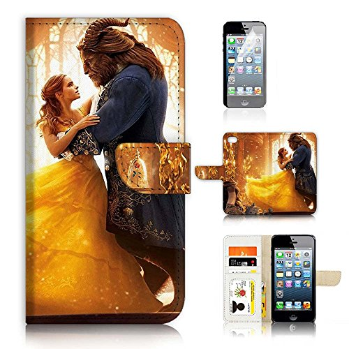 ( For iPhone 8 / iphone 7 ) Flip Wallet Case Cover & Screen Protector Bundle - A21078 Beauty Beast