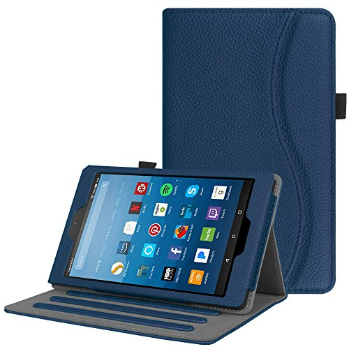 Price comparison product image Fintie Case for All-New Amazon Fire HD 8 Tablet (7th Generation, 2017 Release) - [Multi-Angle Viewing] Folio Stand Cover with Pocket Auto Wake/Sleep, Navy Blue