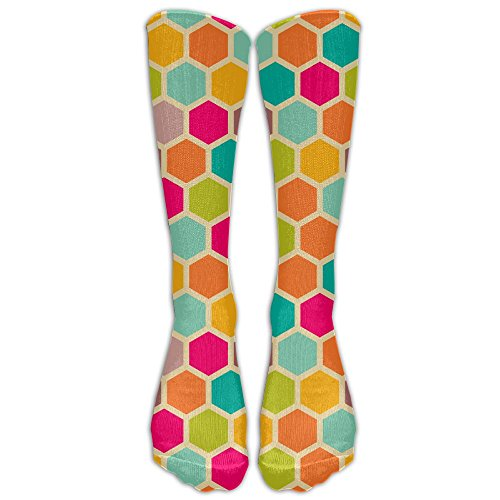 Colorful Hexagon Spider Web Vintage Over-the-calf Tube Stockings Football Sock For Yoga Train Hiking Cycling Running Sports Soccer Athletic