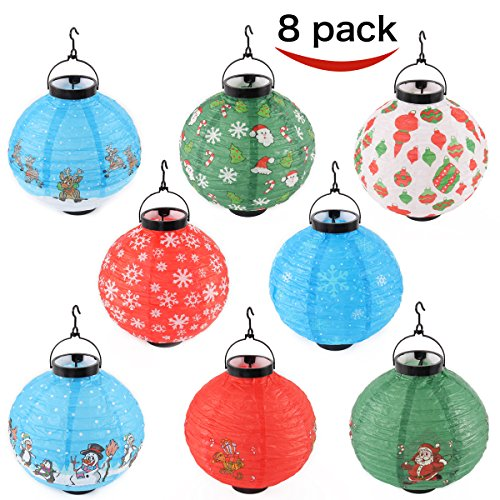Joiedomi Pack of 8 Christmas Decorations Paper Lanterns With LED Lights in Different Styles (Christmas Lanterns Paper)