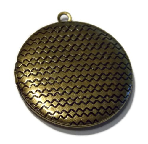 Photo Locket Pendant Antiqued Bronze Zig Zag Pattern 30MM Diameter Locket for Jewelry Making – Antiqued Bronze Tone Metal