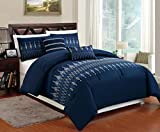 High Quality Brushed Microfiber 5-pc Navy Blue Full Size Comforter Bedding Set with White & Blue Embroidery Design