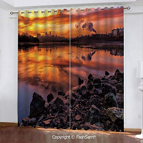 (Thermal Insulated Blackout Curtains USA Missouri Kansas City Scenery of a Sunset Lake Nature Camping Themed Art Photo Printed Curtain for Living Room(84