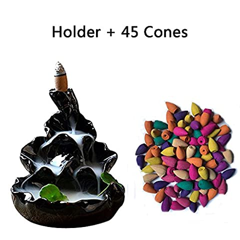 Corcio Backflow Variety Mixed Aromatherapy Incense Cones and Waterfall Holder/Burner Set, 45 Cones(9 Kinds Assorted) & 1 - Incense Set
