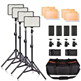 LED Video Light Kit with Stand, SAMTIAN 160 Dimmable Photography Lighting Set for YouTube Video Studio Shooting, 3200/5600K, Including Rechargeable Batteries, Tripod, Carry Bag