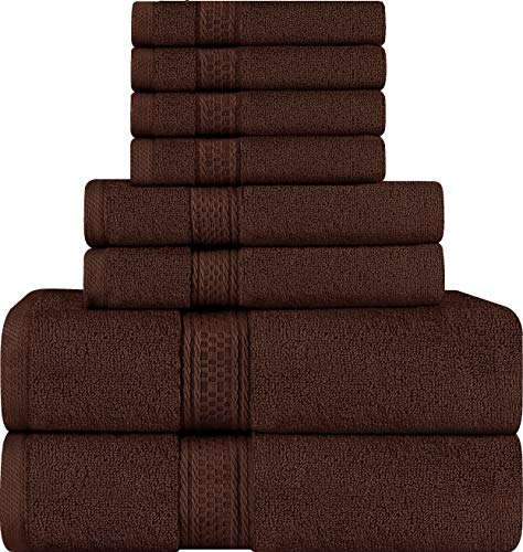 Utopia Towels 8 Piece Towel Set, Brown, 2 Bath Towels, 2 Hand Towels, and 4 Washcloths