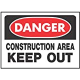 """Hy-ko Prod Co 520 10"""" X 14"""", Red, Danger Construction Area Keep Out Sign"""